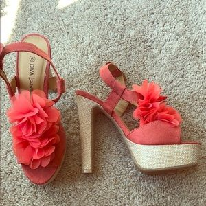 Coral heeled sandals
